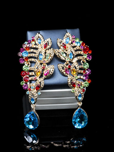 2018 2018 Exaggerated Cubic Glass Rhinestones Two Pieces Jewelry Set