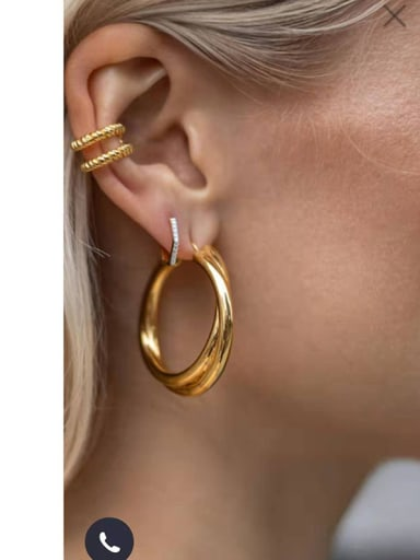 Titanium With Gold Plated Simplistic Smooth Hollow Round Hoop Earrings