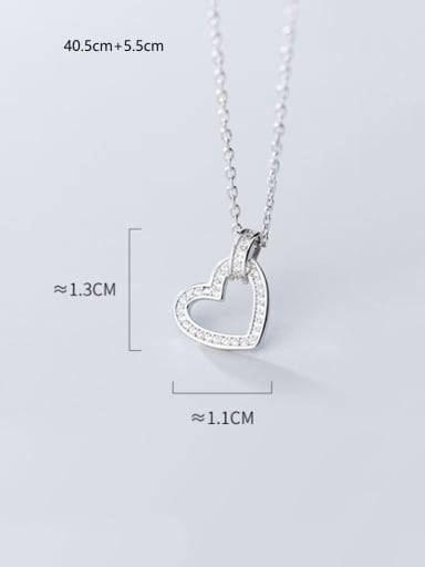 925 Sterling Silver With Platinum Plated Simplistic Hollow Heart Necklaces