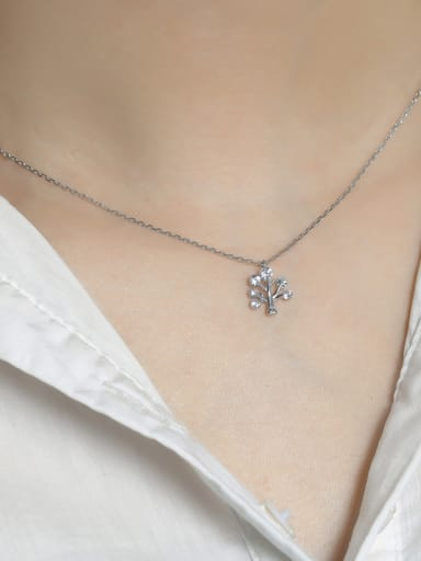 925 Sterling Silver With Cubic Zirconia Fashion Wishing tree pendant Necklaces