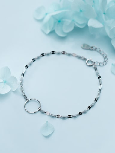 925 Sterling Silver With Silver Plated Simplistic Twisted Ring Bracelets
