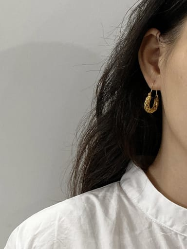 925 Sterling Silver With Gold Plated Simplistic Hollow Geometric Clip On Earrings