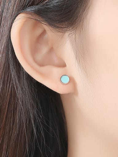 925 Sterling Silver With Platinum Plated Simplistic Round Stud Earrings