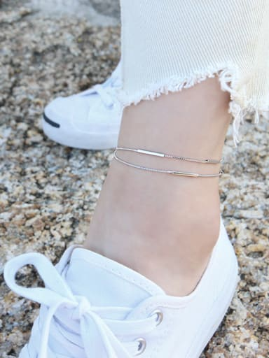 925 Sterling Silver With Platinum Plated Trendy Charm Anklets