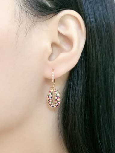Copper With Cubic Zirconia Delicate Geometric Cluster Earrings