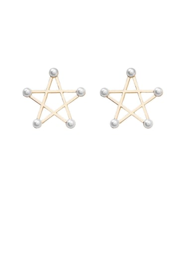 Alloy With Artificial Pearl  Simplistic Star Stud Earrings