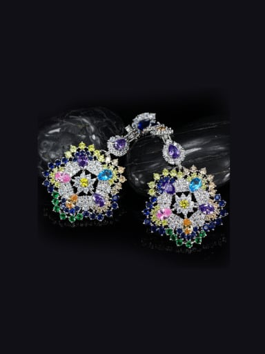 Exaggerate Colorful Flower Drop Chandelier earring