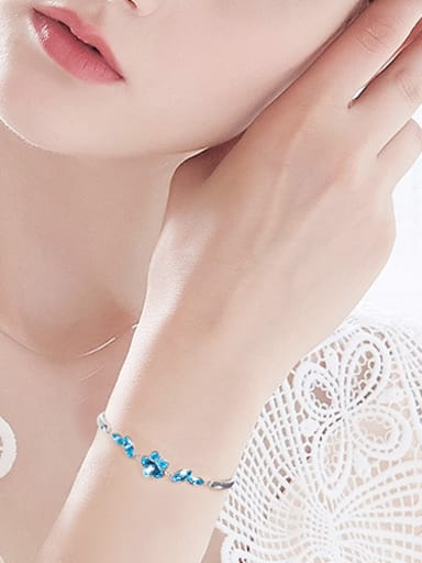 Fashion Little Flower Swarovski Crystals 925 Silver Bracelet