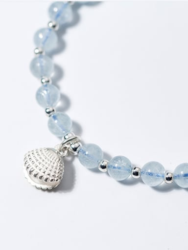 Temperament Blue Shell Shaped Crystal S925 Silver Bead Bracelet