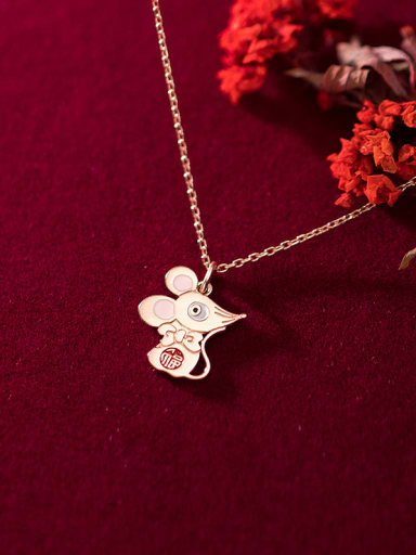 925 Sterling Silver With Rose Gold Plated Cute Mouse Necklaces
