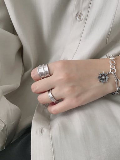 925 Sterling Silver With Platinum Plated Simplistic Smooth  Irregular Free Size Rings