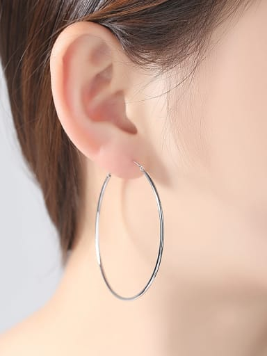 925 Sterling Silver With Platinum Plated Simplistic Round Hoop Earrings