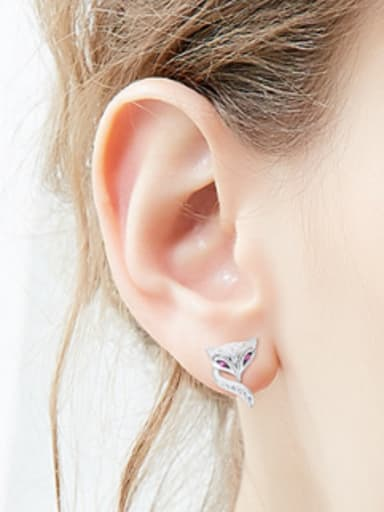 Personalized Tiny 925 Silver Fox Stud Earrings