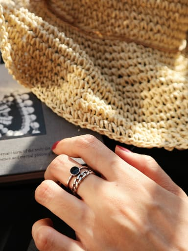 Sterling Silver simple retro Thai silver free size ring