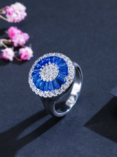 Copper inlaid AAA zircon shines blue rings