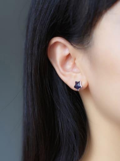 S925 silver purple agate stars stud earrrings