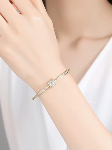 Copper  With Cubic Zirconia Simplistic Square Bracelets