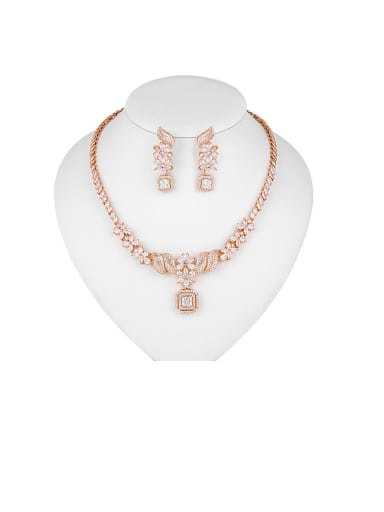 Copper With Cubic Zirconia  Luxury Geometric Earrings And Necklaces 2 Piece Jewelry Set