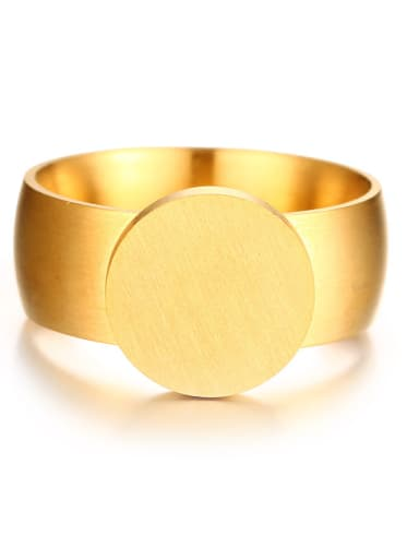 All-match Gold Plated Round Shaped Matte Finished Ring