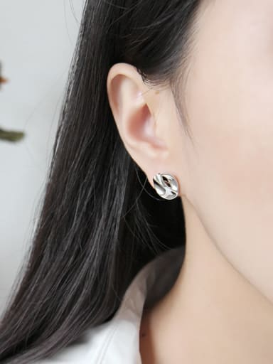 Sterling silver irregular bump surface geometry round ear stud
