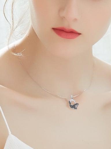 Simple Little Whale Black Zircon Necklace