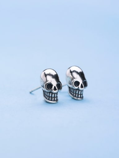 Retro Style Silver Skull Shaped stud Earring