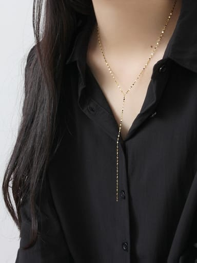 Sterling silver minimalist 18K gold-plated necklace