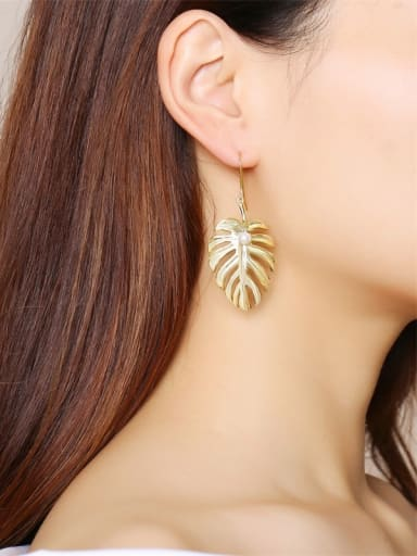 Stainless Steel With Gold Plated Simplistic Leaf Hook Earrings
