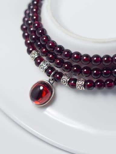 Fashion Oval Shaped Garnet Multi Layer Beaded Bracelet