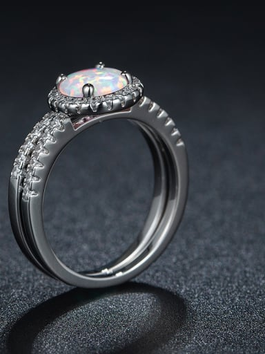 Alloy Fashion Double Layer Opal White Gold Plated Ring