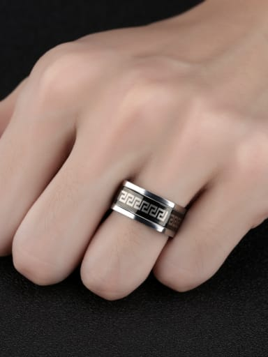 Stainless Steel With White Gold Plated Grain Men Rings