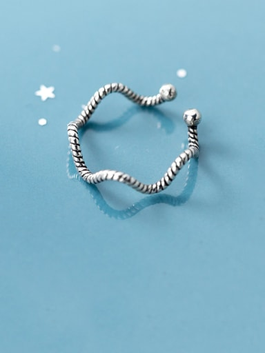 925 Sterling Silver With Gun Plated Simplistic Thread Wave  Free Size Rings