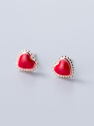 925 Sterling Silver With  Enamel Cute Heart Stud Earrings