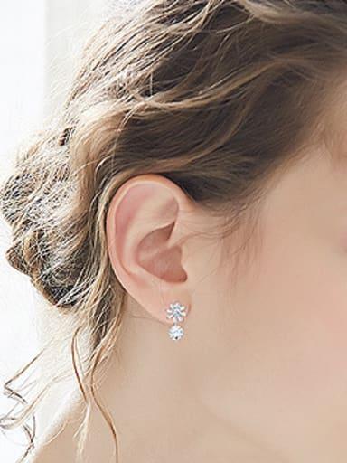 Fashion White Shiny Zirconias Flowery 925 Silver Stud Earrings