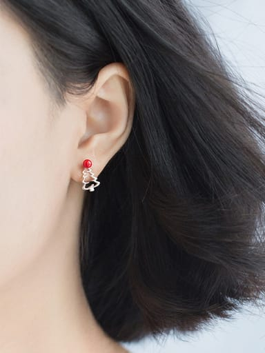 925 Sterling Silver With Platinum Plated Cute Christmas Series  Stud Earrings