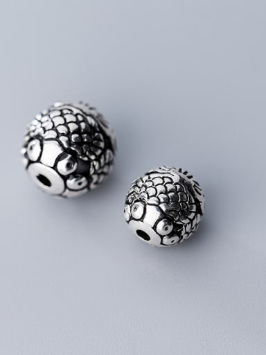 925 Sterling Silver With Antique Silver Plated Vintage Fish Beads
