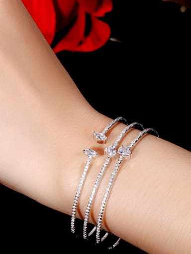 Copper With Cubic Zirconia  Luxury Fringe Free Size Bangles