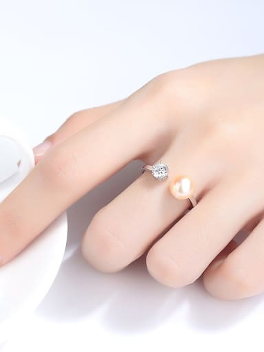 Sterling silver zircon natural freshwater pearl free size ring