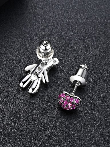 AAA zircon mosaic Color bear love asymmetric ear studs