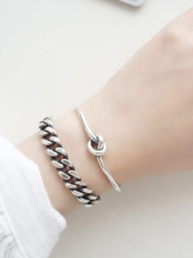 Simple silver and antique silver single rope Bangle Bracelet