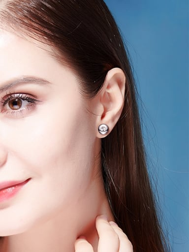 S925 Silver Round-shaped stud Earring