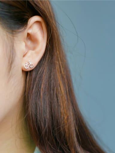 S925 Silver Fashion Cute Mini Bicycle Stud cuff earring