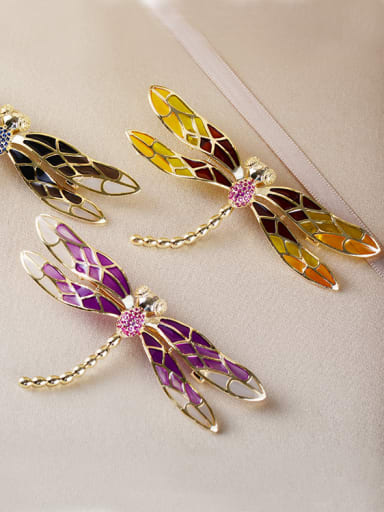Copper With Gold Plated Cute Insect dragonfly Brooches