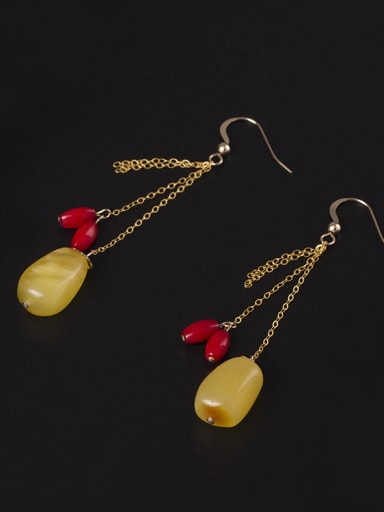 Gold Plated Natural Wax Stones Hook Earrings