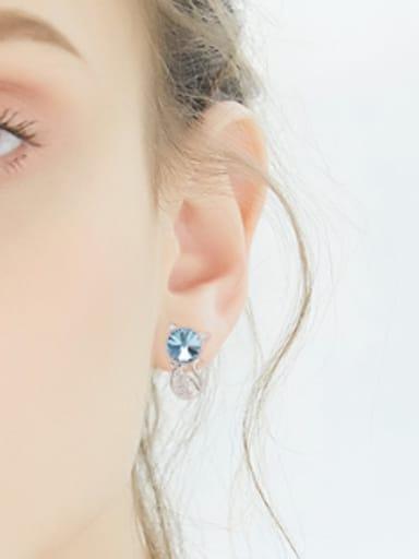 Personalized Blue Swarovski Crystal Kitten Stud Earrings