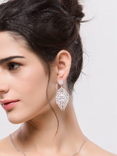 Copper inlaid AAA zircon water-Drop earring