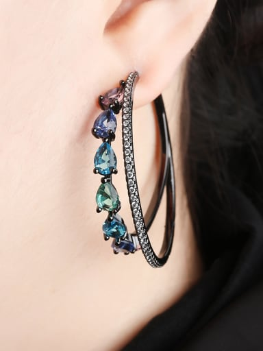 Copper With  Cubic Zirconia Luxury Water Drop Stud Earrings
