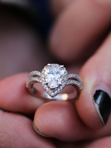 Copper With White Gold Plated Delicate Water Drop Cubic Zirconia Engagement Rings