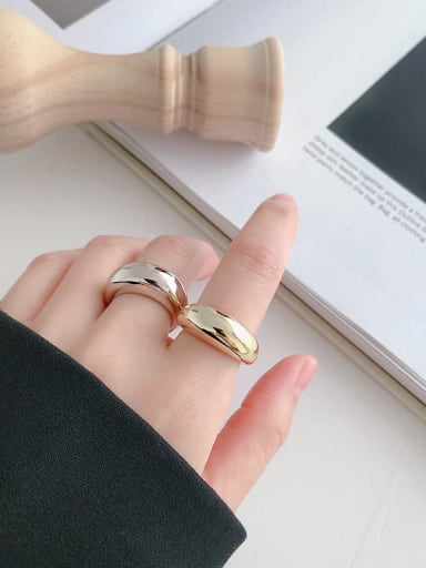925 Sterling Silver With Silver Plated Simplistic Geometric free size Rings