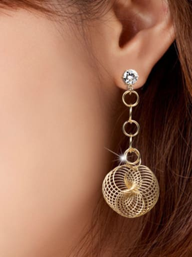 Copper With Gold Plated Exaggerated Geometric Earrings